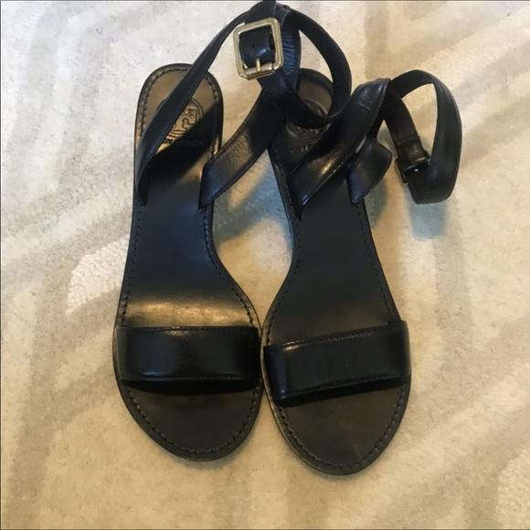 Tory Burch Regan Mid Wedge Sandals Black Size 10.5